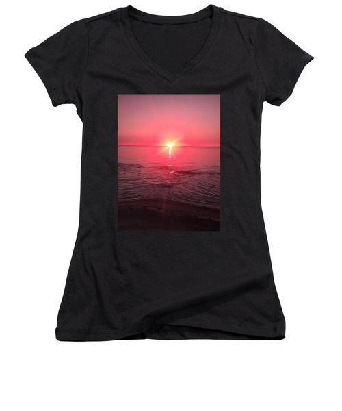 Red Sky Sunset Women's V-Neck T-Shirt