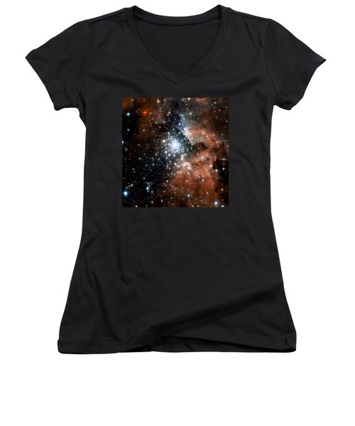 Red Smoke Star Cluster Women's V-Neck T-Shirt