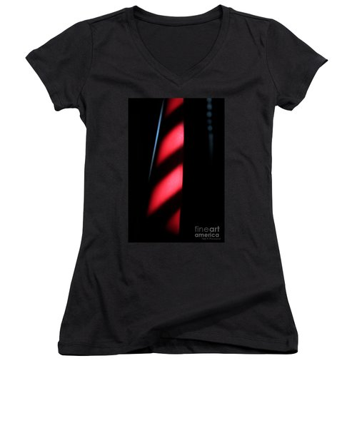 Red Stripes Women's V-Neck T-Shirt