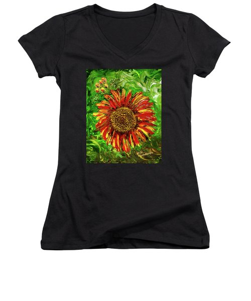 Red Sunflower Women's V-Neck T-Shirt