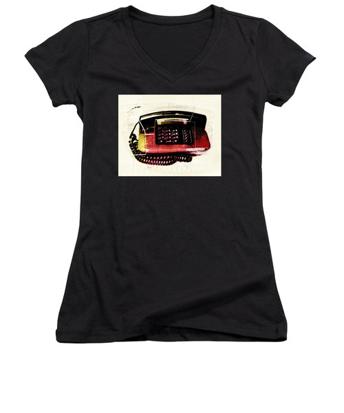 Hot Red Phone Women's V-Neck T-Shirt (Junior Cut) by Susan Stone