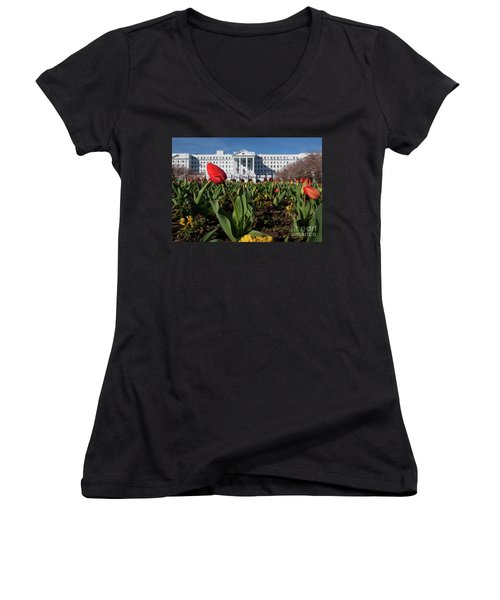 Red Tulip At The Greenbrier Women's V-Neck T-Shirt (Junior Cut) by Laurinda Bowling