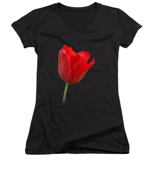 Red Tulip Open Women's V-Neck T-Shirt (Junior Cut) by Gill Billington