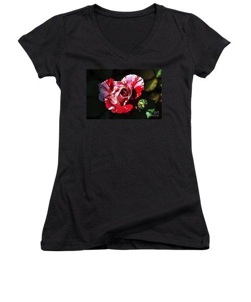 Red Verigated Rose Women's V-Neck T-Shirt
