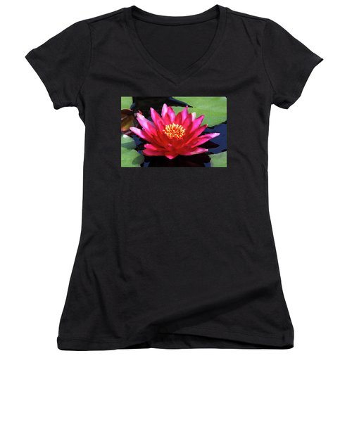 Red Water Lily - Palette Knife Women's V-Neck T-Shirt
