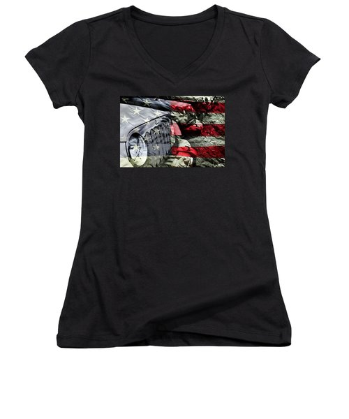Red White And Jeep Women's V-Neck (Athletic Fit)