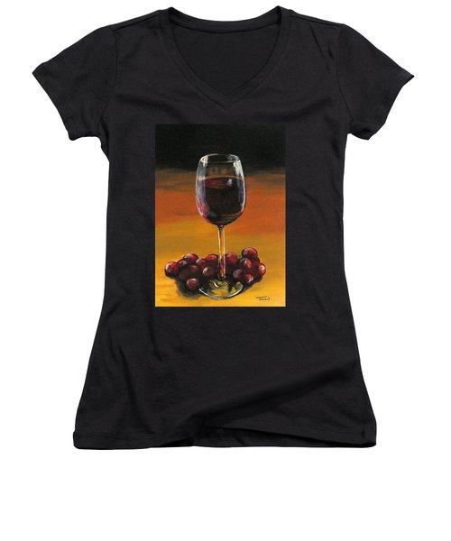 Red Wine And Red Grapes Women's V-Neck (Athletic Fit)