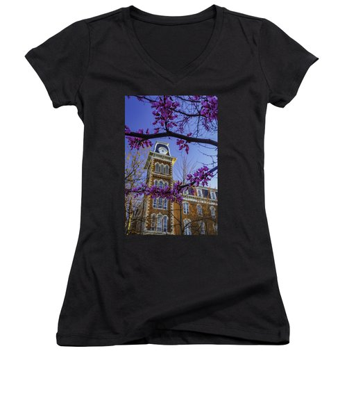Redbud At Old Main Women's V-Neck T-Shirt (Junior Cut) by Damon Shaw