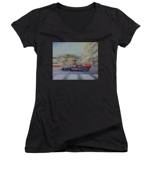 Redbull Racing Car Monaco  Women's V-Neck T-Shirt