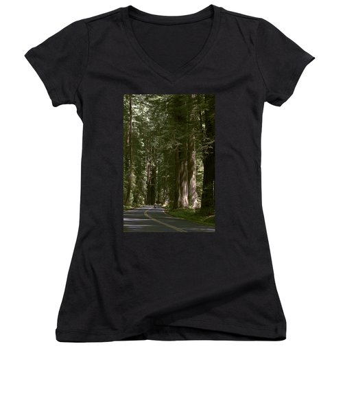 Redwood Highway Women's V-Neck T-Shirt (Junior Cut) by Wes and Dotty Weber