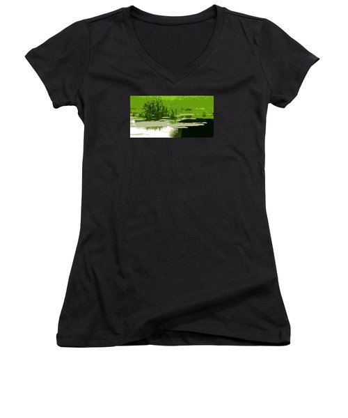 Women's V-Neck T-Shirt (Junior Cut) featuring the photograph Reeds At The  Pond by Spyder Webb