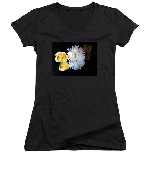 reflected Flowers Women's V-Neck T-Shirt