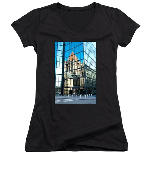 Reflecting On Religion Women's V-Neck T-Shirt (Junior Cut) by Greg Fortier