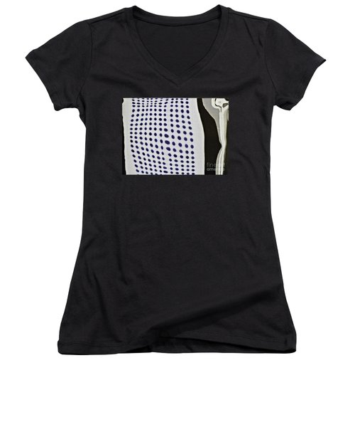 Women's V-Neck T-Shirt (Junior Cut) featuring the photograph Reflection On 42nd Street 1 Negative by Sarah Loft