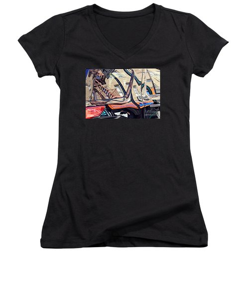 Women's V-Neck T-Shirt (Junior Cut) featuring the photograph Reflection On A Parked Car 18 by Sarah Loft