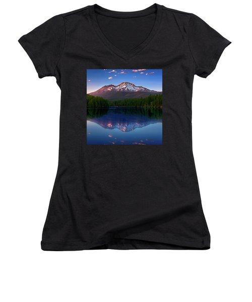 Reflection On California's Lake Siskiyou Women's V-Neck