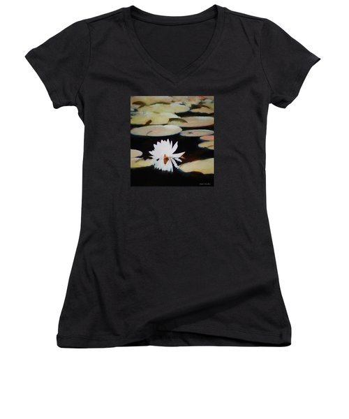 Women's V-Neck T-Shirt (Junior Cut) featuring the painting Reflection Pond by Debra     Vatalaro