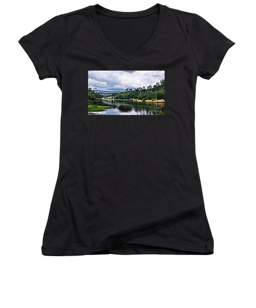 Reflections At Nicasio Reservoir  Women's V-Neck T-Shirt