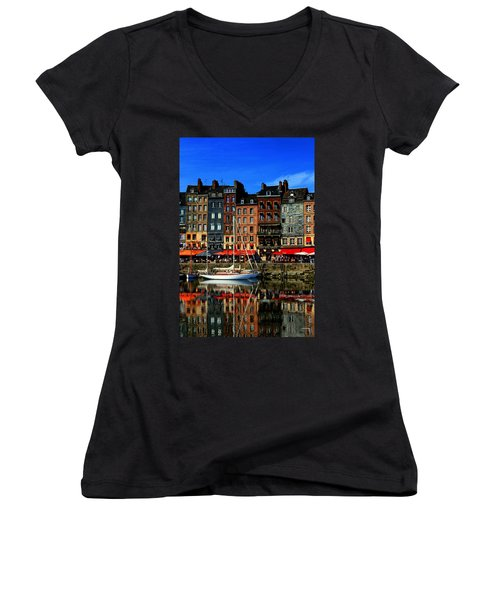 Reflections Honfleur France Women's V-Neck T-Shirt