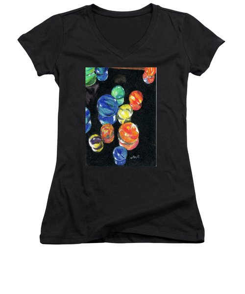 Reflections In Black Women's V-Neck T-Shirt (Junior Cut) by Lynne Reichhart