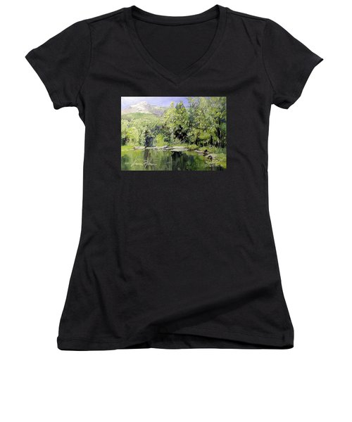 Reflections Women's V-Neck T-Shirt (Junior Cut) by Laurie Rohner