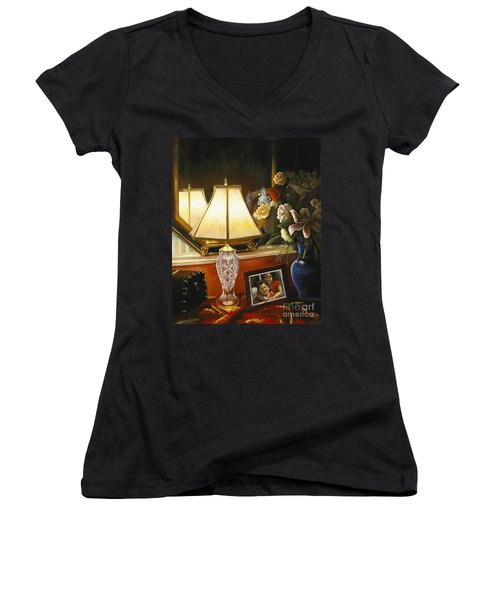 Women's V-Neck T-Shirt (Junior Cut) featuring the painting Reflections by Marlene Book