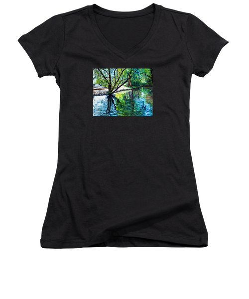 Trees Reflections Women's V-Neck (Athletic Fit)