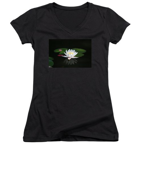 Reflections Of A Water Lily Women's V-Neck