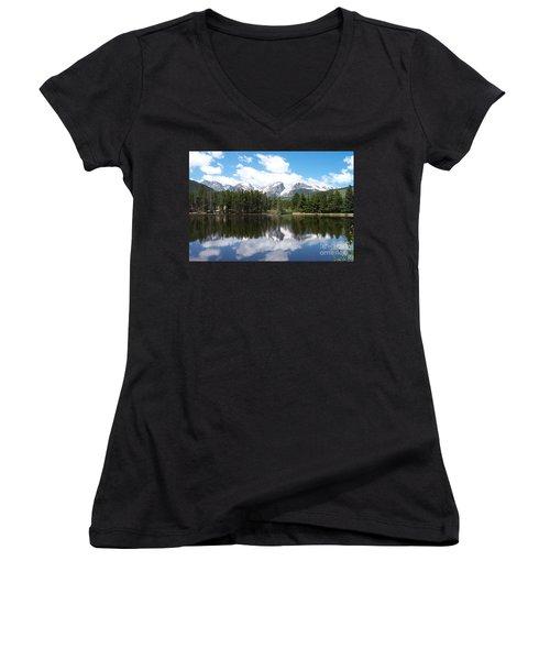 Reflections Of Sprague Lake Women's V-Neck (Athletic Fit)