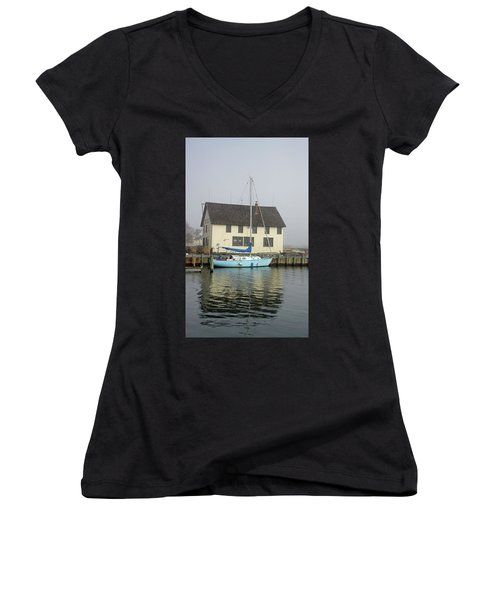 Reflections Of The Boat Builder Women's V-Neck