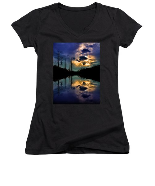 Women's V-Neck T-Shirt (Junior Cut) featuring the photograph Reflections by Tara Turner