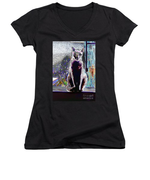 Regal Puss Women's V-Neck T-Shirt (Junior Cut) by Expressionistart studio Priscilla Batzell