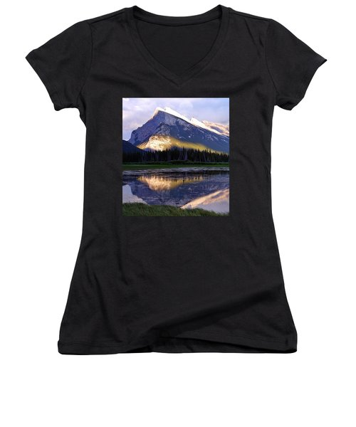 Mount Rundle Women's V-Neck T-Shirt (Junior Cut) by Heather Vopni