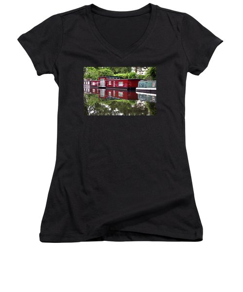 Women's V-Neck T-Shirt (Junior Cut) featuring the photograph Regent Houseboats by Keith Armstrong