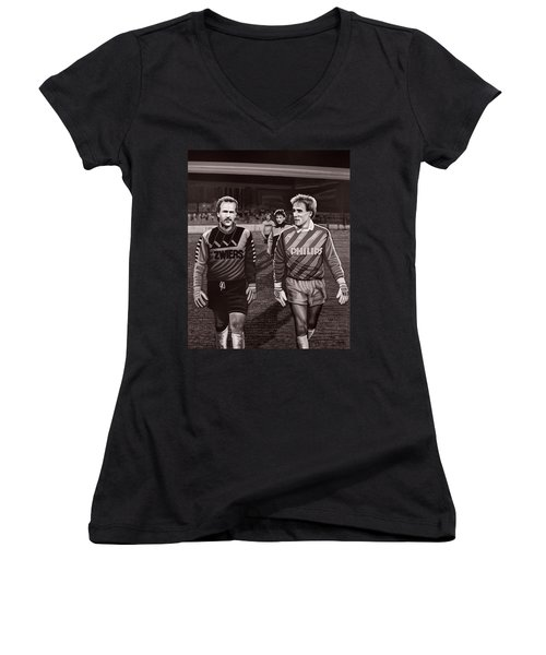 Reinier En Hans Women's V-Neck T-Shirt (Junior Cut) by Paul Meijering