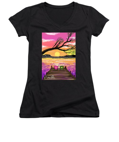 Women's V-Neck T-Shirt (Junior Cut) featuring the digital art Relaxing On The Dock by Diana Riukas