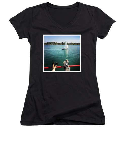 Relaxing Summer Boat Trip Women's V-Neck (Athletic Fit)