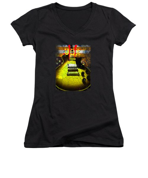 Women's V-Neck (Athletic Fit) featuring the photograph Relic Guitar Music Patriotic Usa Flag by Guitar Wacky
