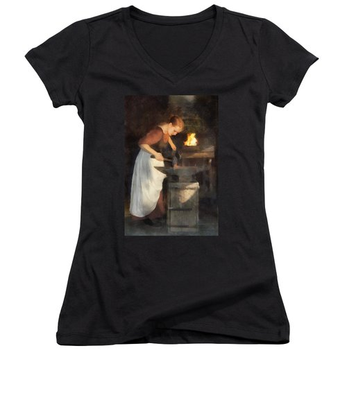 Women's V-Neck T-Shirt (Junior Cut) featuring the digital art Renaissance Lady Blacksmith by Francesa Miller