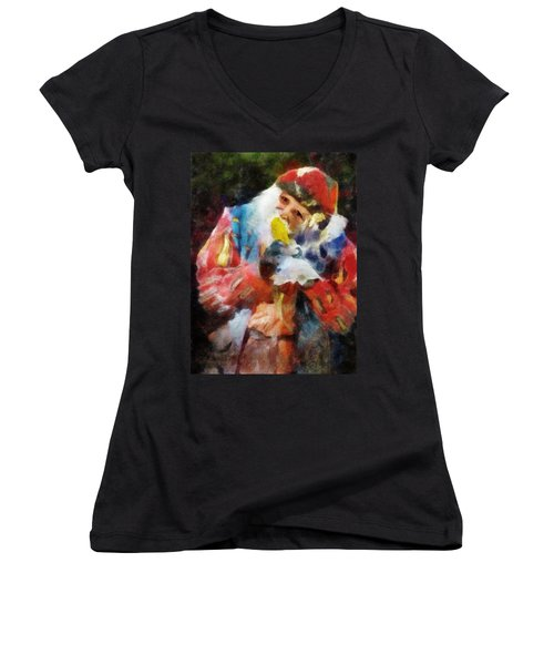 Women's V-Neck T-Shirt (Junior Cut) featuring the digital art Renaissance Man With Corn On The Cob by Francesa Miller