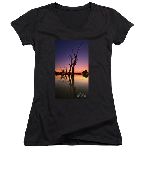 Renmark South Australia Sunset Women's V-Neck T-Shirt (Junior Cut) by Bill Robinson