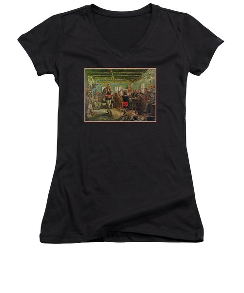 Women's V-Neck T-Shirt (Junior Cut) featuring the painting replica of Ruchenitsa by Nikola Tanev by Pemaro