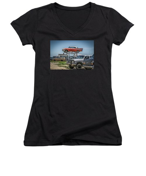 Reserved Parking Women's V-Neck T-Shirt (Junior Cut) by Ray Congrove