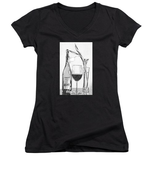 Reserved Table For One In Black And White Women's V-Neck (Athletic Fit)