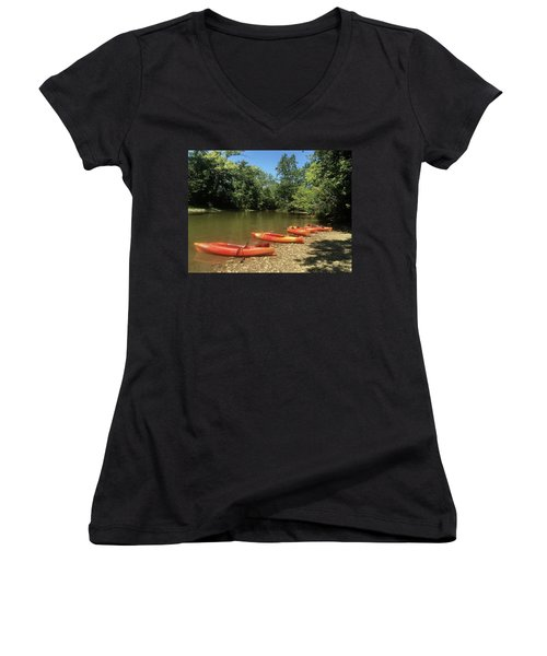 Resting Kayaks Women's V-Neck T-Shirt