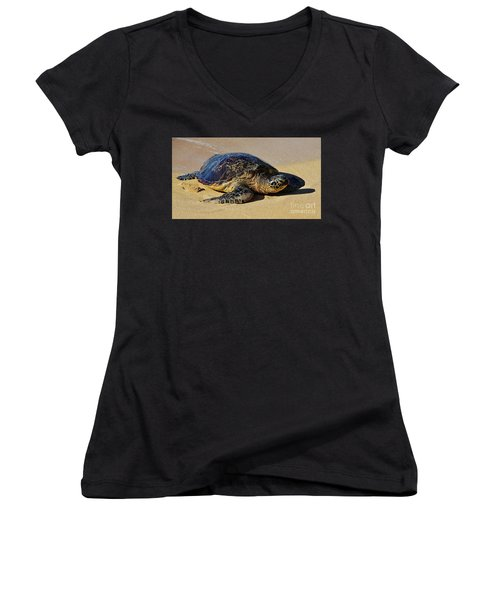 Women's V-Neck T-Shirt (Junior Cut) featuring the photograph Resting Sea Turtle by Craig Wood