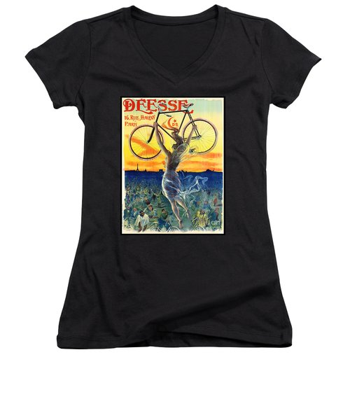 Retro Bicycle Ad 1898 Women's V-Neck (Athletic Fit)