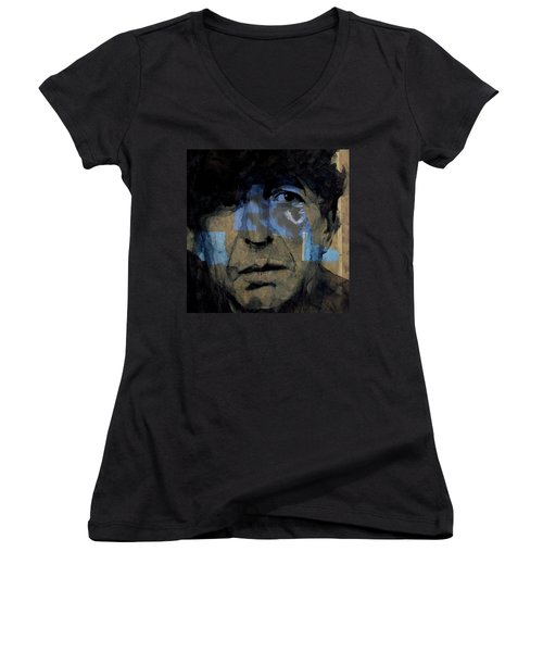 Women's V-Neck T-Shirt (Junior Cut) featuring the painting Retro- Famous Blue Raincoat  by Paul Lovering