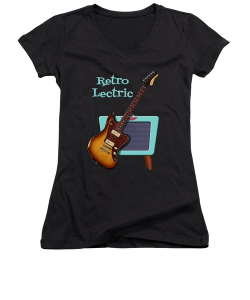 Retro Lectric Women's V-Neck T-Shirt (Junior Cut) by WB Johnston