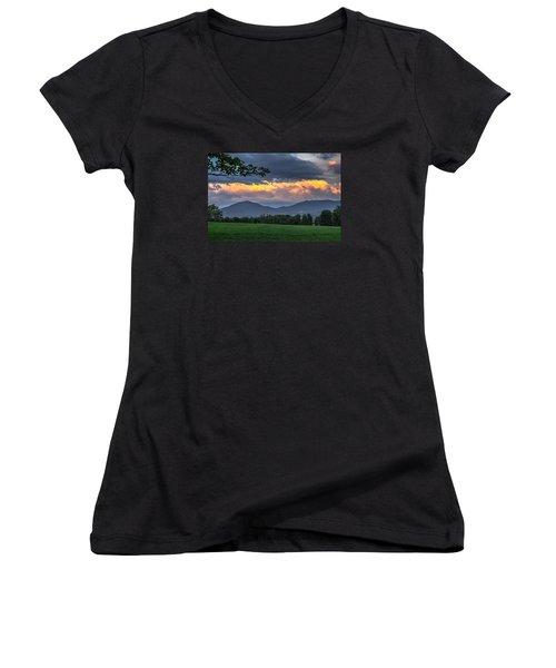 Reverse Sunset Women's V-Neck T-Shirt (Junior Cut) by Tim Kirchoff